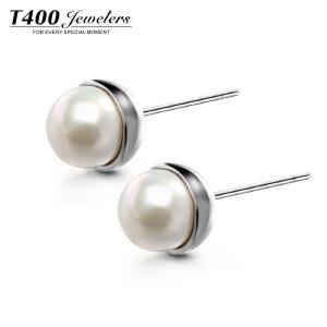 T400仿珍珠耳钉女韩国气质简约个性银饰耳坠防过敏时尚简约耳饰品  8770