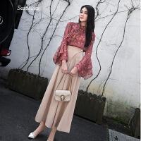 春装2018新款女韩版雪纺上衣港风阔腿裤两件套时髦俏皮套装女夏季 图片色
