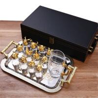 生肖酒杯十二生肖白酒杯家用分酒器玻璃杯创意12只一口杯复古酒具套装 +皮盒+托盘