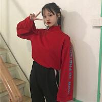 秋冬女装韩版复古高领上衣字母印花长袖开叉学生卫衣T恤打底
