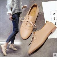 系带平底鞋软妹小皮鞋复古鞋女圆头英伦风学院风单鞋