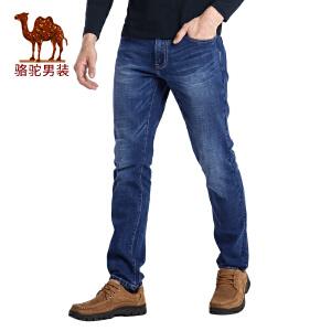 骆驼男装 秋季新款时尚合体直筒商务休闲拉链长裤男士牛仔裤
