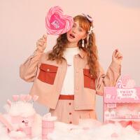 粉红豹联名款毛菇小象早秋套装女2019新粉色短外套+半身裙两件套
