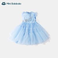 迷你巴拉巴拉裙子2021夏季新款女童国风刺绣公主裙可爱连衣裙纱裙