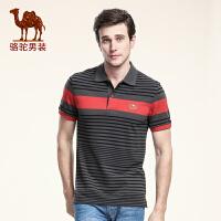 骆驼男装 夏款新品青年 翻领针织布条纹商务休闲短袖T恤男士