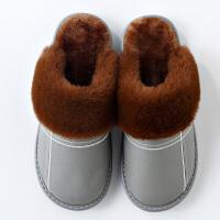 情侣秋冬季真皮棉拖鞋女新款室内家居家用防水保暖厚底毛绒男