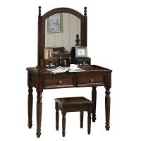 美式梳妆台轻奢卧室实木化妆台化妆桌子化妆柜美式家具化妆台轻奢 深栗色 组装