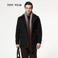 TONY WEAR/汤尼威尔秋冬男士商务羊毛翻领中长款大衣休闲大衣