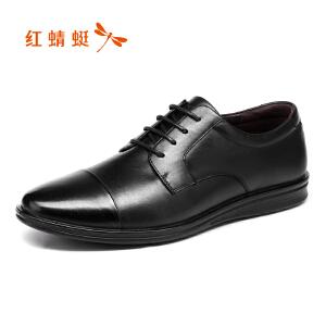 红蜻蜓男鞋2017秋季新款正品真皮商务休闲皮鞋