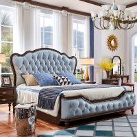 美式床软包简约现代轻奢婚床 新古典1.8米双人大床胡桃木全实木家具 1800mm*2000mm框架结构