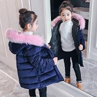 女童装棉衣外套2017新款金丝绒儿童加厚棉袄女孩中长款羽绒 藏青色