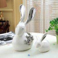 祥瑞玉兔创意兔子摆件家居饰品陶瓷时尚客厅酒柜卧室工艺品装饰品