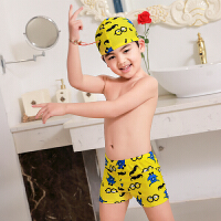 2018新款 儿童泳衣男童游泳分体平角泳裤泳帽卡通游泳套装 乳白色 黄色大胡子