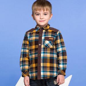【3件3折 到手价:77.7元】水孩儿souhait男童纯棉森林格针织棉衬衫ASEDH301