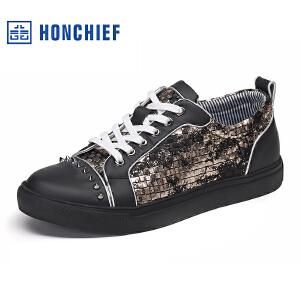 HONCHIEF 红蜻蜓旗下2017春秋新款时尚铆钉休闲板鞋韩版撞色男鞋