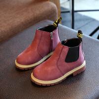 2017秋款加棉马丁靴男女童靴子小童鞋子中高帮加绒皮靴真皮 红棕 二棉 31码内长19.6cm