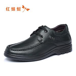 红蜻蜓男鞋2017冬季新品商务休闲皮鞋舒适系带加绒低帮男棉鞋正品