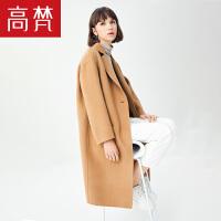 【全场1件3折到手价:389元】高梵新款冬韩版双面呢子大衣女 时尚休闲刺绣中长款毛呢外套