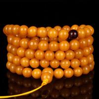 蜜蜡满蜡无伤无杂无裂108佛珠手链 直径8mm 重37.55g