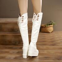 厚底长筒靴超高跟鞋13cm白色长靴内增高女靴冬季新款坡跟过膝靴子 白色系带 标准码