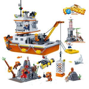 【当当自营】【当当自营】邦宝益智拼装积木玩具塑料1040小颗粒拼插远洋科考船5岁男孩玩具7401