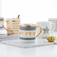 北欧轻奢风新骨瓷马克杯陶瓷咖啡杯子情侣杯 手工描金工艺五款选