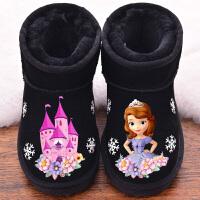 2018冬季新款儿童雪地靴女童短靴真皮宝宝靴子加绒保暖男童雪地靴 黑 黑色城堡
