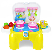 儿童过家家玩具套装灯光音效做饭厨房厨具工具女孩板凳游戏椅 黄色