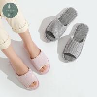 朴西 新款日式居家室内情侣拖鞋女家居地板防滑家用亚麻棉拖鞋男