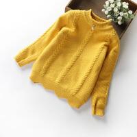 女童毛衣加绒加厚秋款儿童针织羊绒衫小女孩双层保暖套头衫上衣 黄色 W71(加绒毛衣)