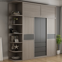 北欧风格衣柜简约现代卧室储物柜推拉门收纳柜2米大衣柜 板式家具 +顶柜+转角柜 4门