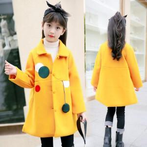 【满200-100】百槿 冬季女童中长款加厚圆点呢大衣 中大童中长款加厚呢子大衣