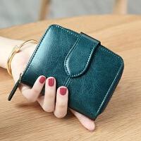 钱包女短款新款多功能卡包油蜡牛皮多卡位韩版折叠时尚零钱包