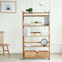 竹山下 楠竹书架 实心书柜创意置物架收纳简易书架学生楠竹书架子