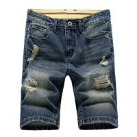 夏季薄款牛仔中裤男士直筒裤牛仔短裤男大码五分裤