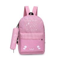 送笔袋可爱表情帆布包小学生男双肩包女孩子旅行背包初中学生书包 好看粉
