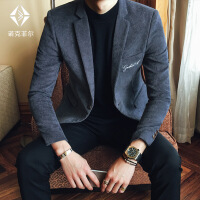 秋冬灯芯绒小西装男韩版修身刺绣休闲西服男英伦商务发型师外套潮