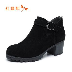 红蜻蜓女鞋2017秋季新款圆头舒适中粗跟鞋时尚深口纯色女单鞋