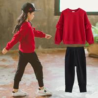 女童套装新款春装韩版中大童纯棉运动休闲洋气红色卫衣长裤两件套 红色 款加绒套装