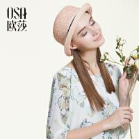 OSA欧莎2016春季新款女装 橡筋收腰印花连衣裙A13072
