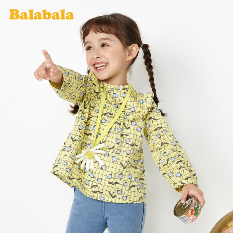 【满200减120】巴拉巴拉童装儿童衬衫洋气女童衬衣长袖春季2020新款小童宝宝纯棉