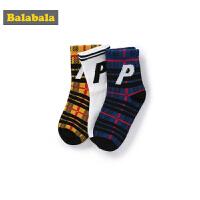 巴拉巴拉儿童袜子秋季薄款男童宝宝棉袜中筒袜时尚透气运动三双装