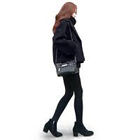 2018秋冬新款韩版短款毛呢外套大码宽松chic黑色西装领呢子大衣女 黑色