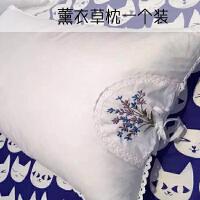 全棉出口薰衣草刺绣枕芯 纯棉绗绣蚕丝颈椎枕水洗棉一对枕芯