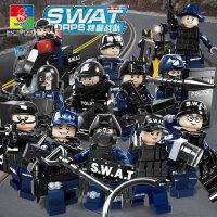 沃马兼容乐高特警机动部队警察人仔拼装积木益智拼插玩具男孩拼图