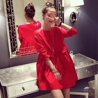 孕妇装秋装上衣2017新款打底衫中长款娃娃裙韩版连衣裙时尚款潮妈