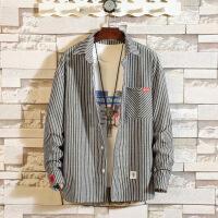 秋季学生条纹衬衣男士宽松长袖衬衫韩版休闲简约寸衫潮流男装外套