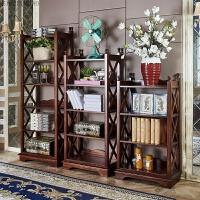 美式书架置物架全实木书架落地书架实木置物柜客厅报架多层收纳架