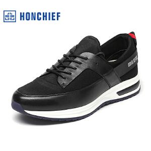 HONCHIEF 红蜻蜓旗下 秋季新款韩版男士板鞋莱卡布拼接潮流男鞋