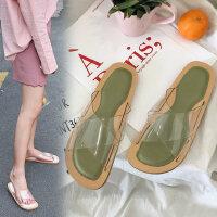 学生休闲沙滩拖鞋凉拖鞋女夏季新款韩版露趾纯色透明一字拖鞋